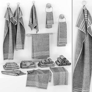 gray towels set 3D