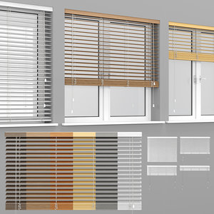 wooden blinds window 3D model