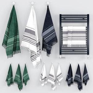 scandinavian towels set 3D model