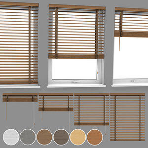 wood blinds venetian 3 3D model