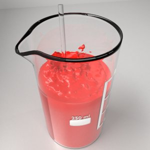 3D 250 ml glass beaker model