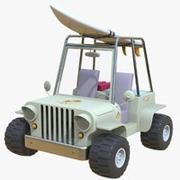 Cartoon Beach Jeep Car