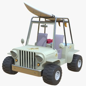 3D cartoon beach jeep car model