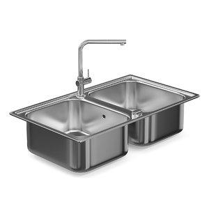 metal double kitchen sink 3D model