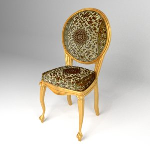 classic golden chair velvet fabric 3D model