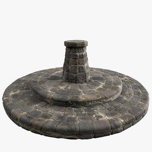 3D medieval stone obelisk statue model