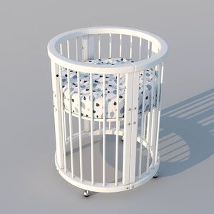 children bed crib 3D model