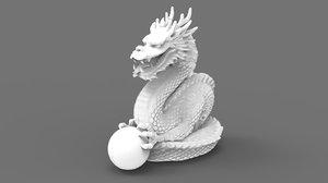 dragon holding sphere 3D