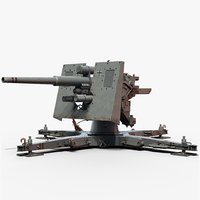 3D flak cannon gameready 88 model
