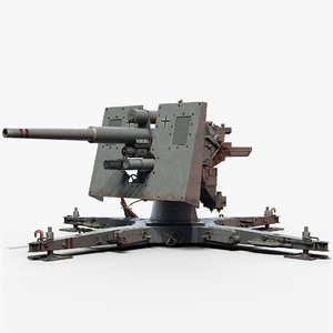 3D flak cannon gameready 88 model