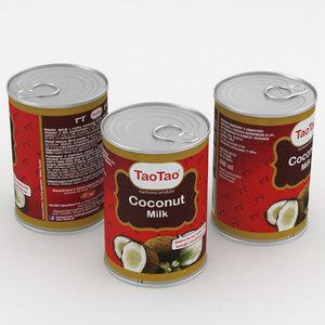 3D model food coconut milk