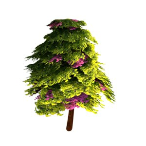 3D model tree flowers animation