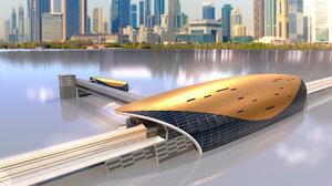 3D dubai metro stations