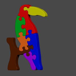 bird toucan jigsaw puzzle 3D model