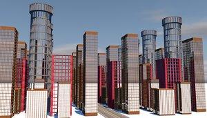 buildings skyscrapers city 3D