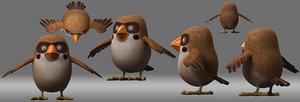 cartoon bird owl model