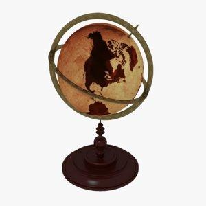 vintage globe earth 3D