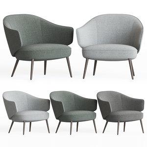 3D charlotte chair armchairs boconcept model