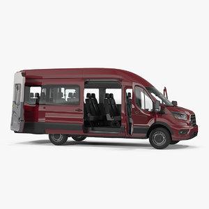 passenger van generic rigged 3D model