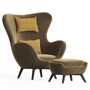 ida wood base armchair 3D model
