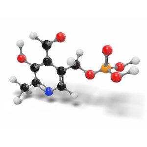 3D pyridoxal vitamin b6 molecule model