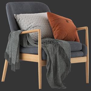 3D temple webster lucas armchair