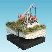 Oil Pumpjack isolated island