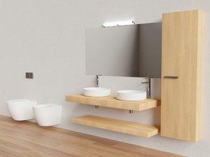 3D bathroom double vanity model