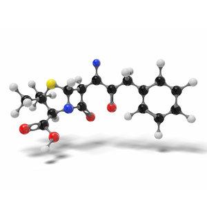 penicillin g molecule c16h18n2o4s 3D model