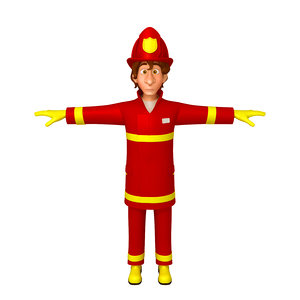 fireman cartoon 3D