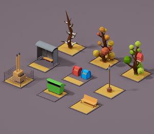 3D mobile urbans tree street model