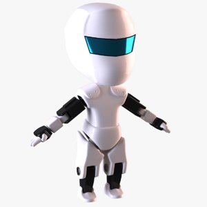 realistic chibi robot character 3D model