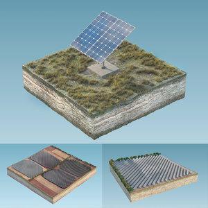 3D solar panels island