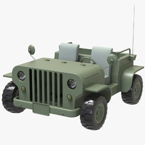 3D cartoon jeep cab car model