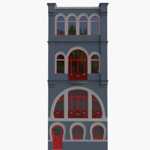 3D apartment building art nouveau