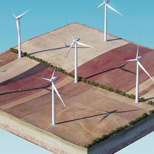 3D wind generator island model