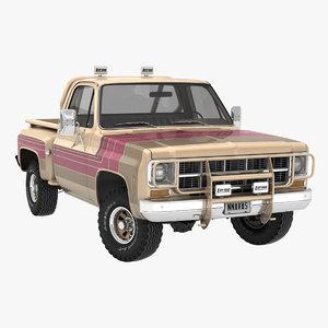 vintage 4wd stepside pickup truck 3D model