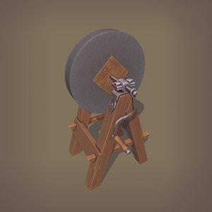 3D medieval grindstone model
