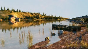 river landscape boat pine trees model