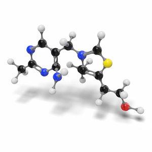 3D model thiamine vitamin b1 c12h17n4os