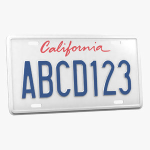 car license plate 3D