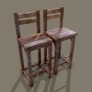 3D wooden tavern chairs