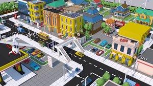 pack city town buildings 3D model