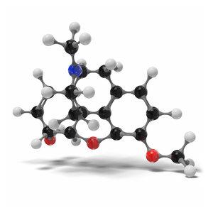 codeine c18h21no3 modeled 3D