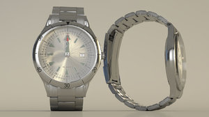 3D watch stainless steel model