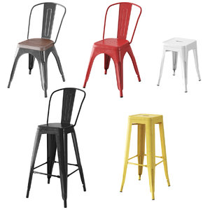 metal chairs tolix loft 3D