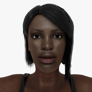 3D model rigged female character sasha