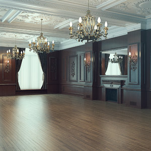 3D scene classic wooden interior