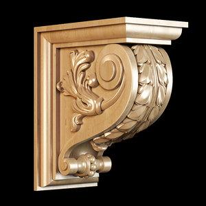 bracket carving classical 3D model