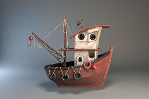 3D model old fishing boat